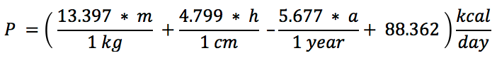 The Revised Harris-Benedict Equation for Men