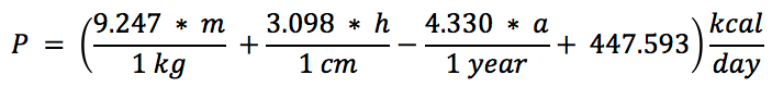 The Revised Harris-Benedict Equation for Women