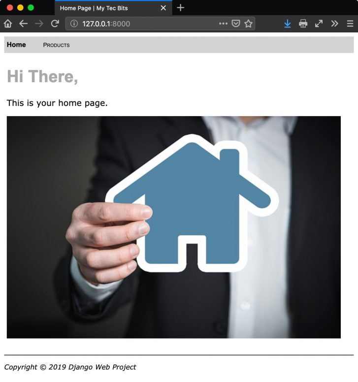 Python Django web page with image