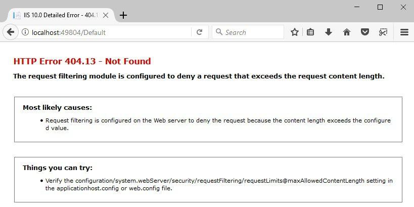 HTTP Error 404.13