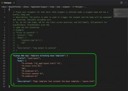 Creating code snippet for Python Django web app in VS Code