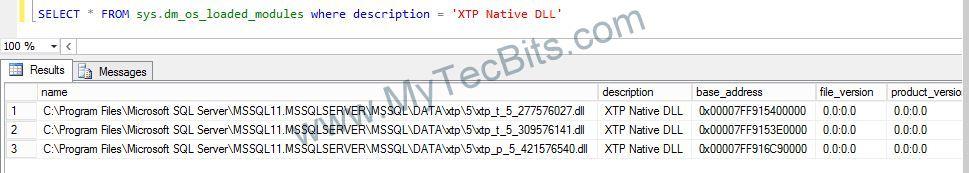SQL 2014 IN Memory OLTP DLL