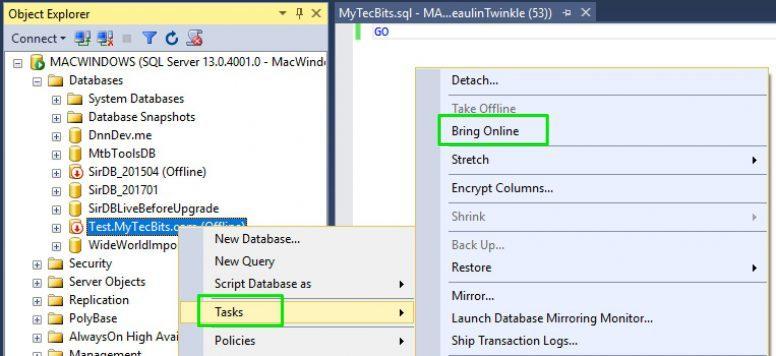 SQL Server Bringing Database Online 01