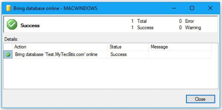 SQL Server Bringing Database Online 02