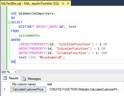 SQL Find User Defined Function Containing Text