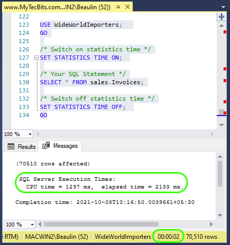 Getting Accurate Execution Time using STATISTICS TIME