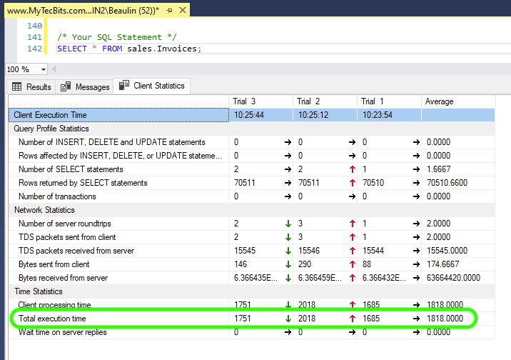 Getting Accurate Execution Time using Client Statistics option