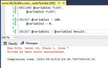 Msg 8134 Divide by zero error encountered