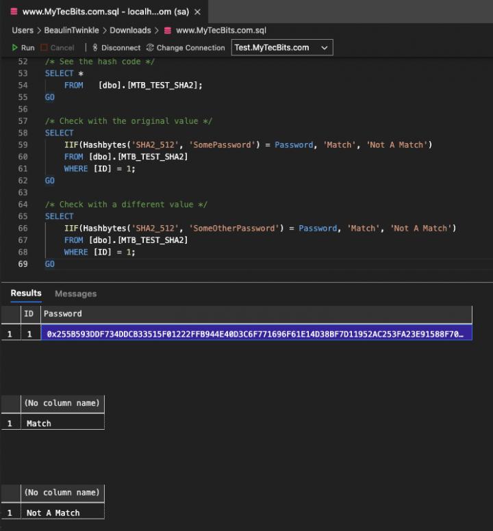 SHA2 512 hash code matching