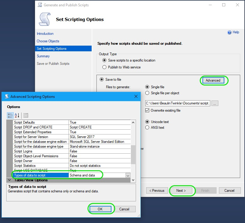 Auto Generate INSERT Statements in SQL Server 03