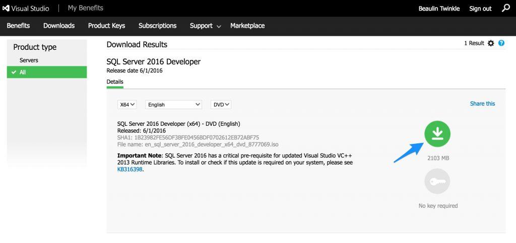 SQL Server 2016 Developer Edition Download