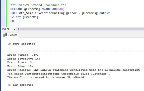 Rollback Transaction On Error In SQL Server Stored Procedure
