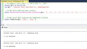 SQL Server - Using TRANSLATE