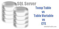 SQL Server Temp Table vs Table Variable vs CTE