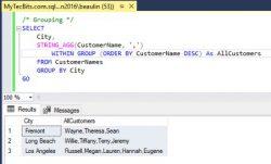 SQL Server Using STRING_AGG