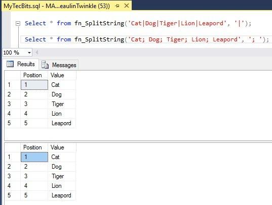 SQL Server: Split Delimited Strings Example