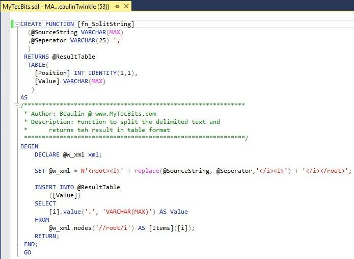 SQL Server: Split Delimited Strings SP