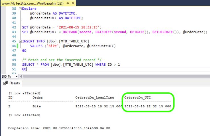 Using UTC DateTime - Convert to UTC