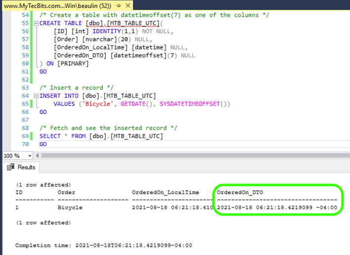 Using UTC DateTime - DATETIMEOFFSET