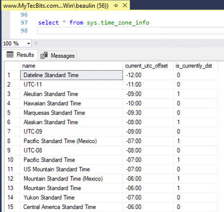 system T-SQL function sys.time_zone_info