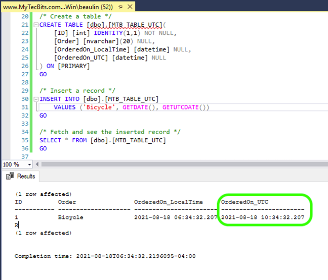 Using UTC DateTime - GETUTCDATE()