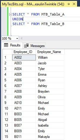 Union in SQL Server