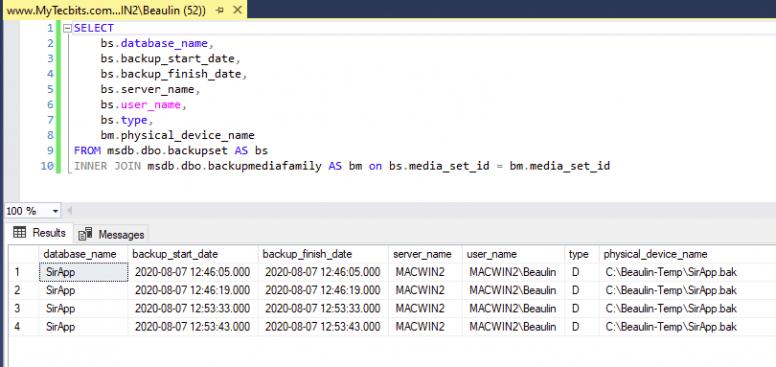Getting database backup history in SQL Server
