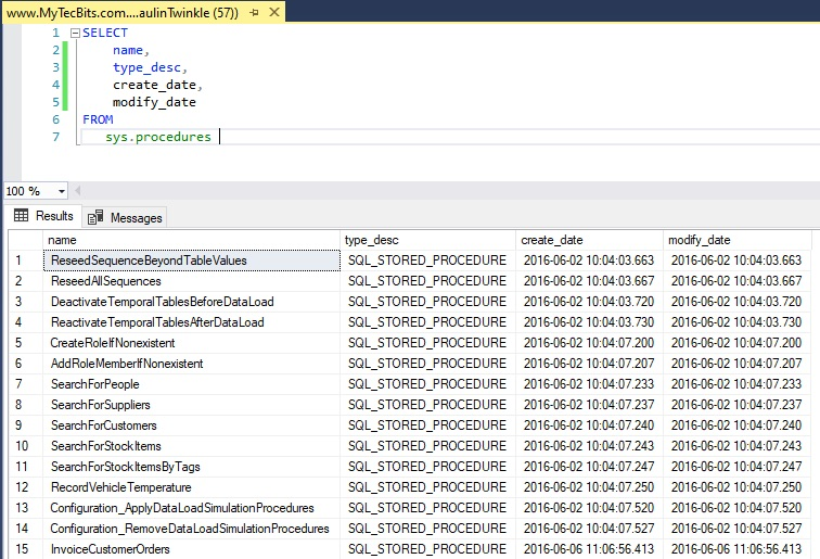 list of all stored procedures using sys.procedures