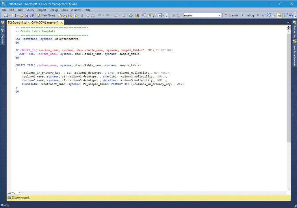 SQL Server Management Studio Query Editor
