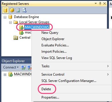 SSMS Registered Servers Delete