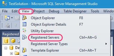 SSMS Registered Servers Open