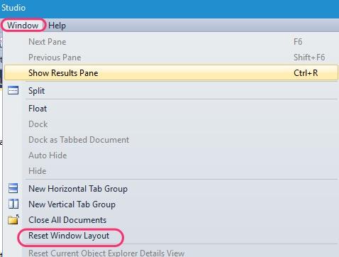 SSMS Reset Windows Layout