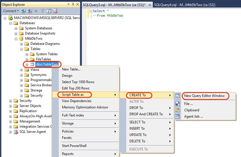 SSMS Script Table Create