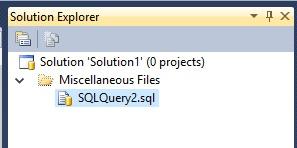 SSMS Solution Explorer Files