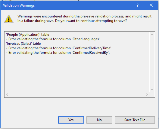 Save Changes After Editing A Table Design In SSMS