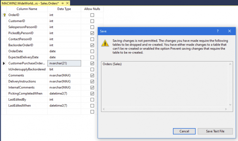 Unable To Save Changes After Editing A Table Design In SSMS