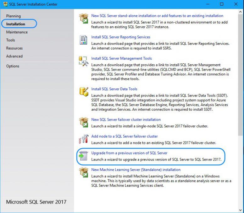 Upgrade SQL Server - Upgrade Screen