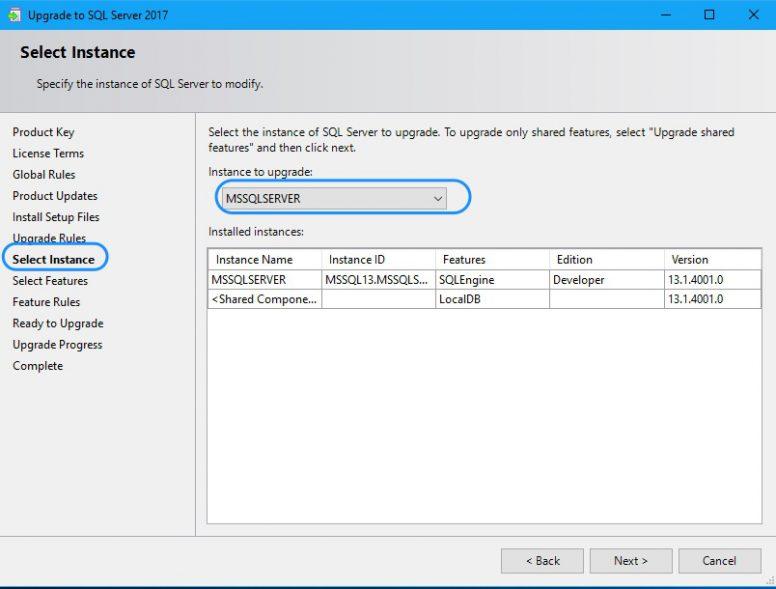 Upgrade SQL Server - Upgrade Instance 2