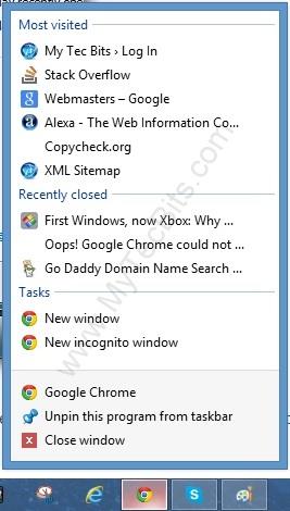 Windows8Disabling Recent Items 1