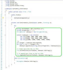 Write Data Into CSV C# Sample Code