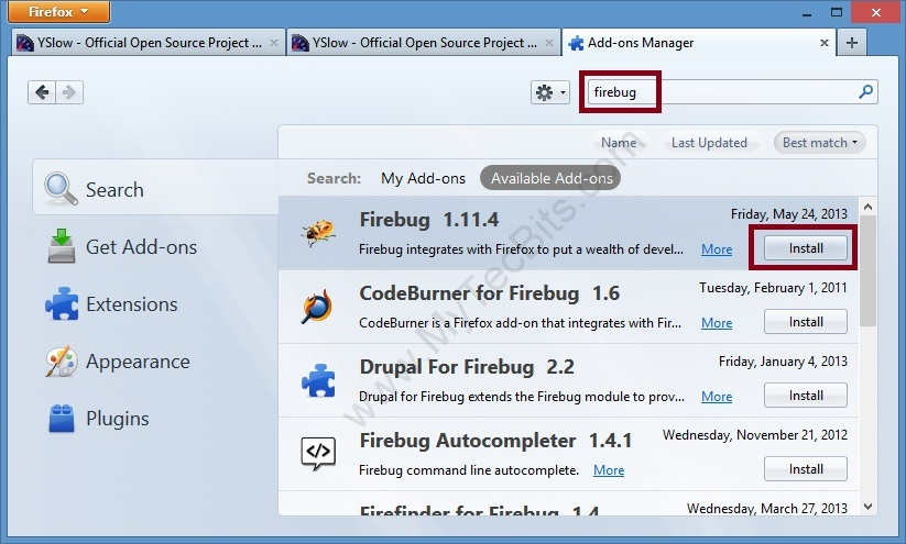 YSlow On Firefox Firebug Install
