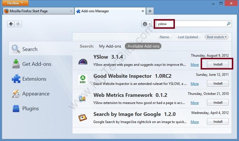 YSlow On Firefox Yslow Install