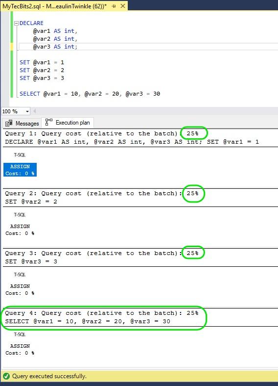 SELECT vs SET Performance in SQL Server
